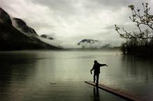 Bohinjsko Jezero under the rain.
